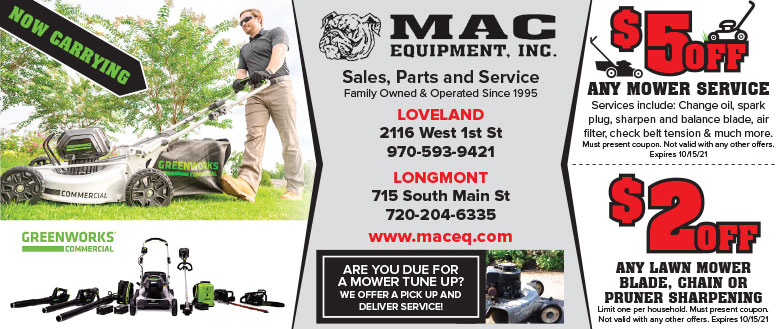 Mac Equipment Inc - Lawn Mower Service & Repair Coupon Deals in Loveland, NoCo