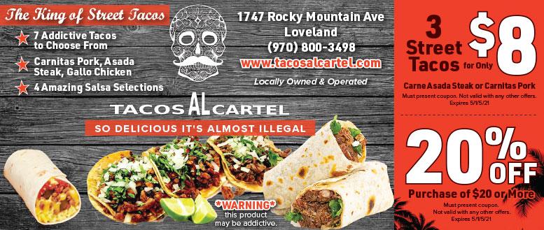 Taco AL Cartel Mexican Restaurant Coupon Deals in Loveland, NoCo
