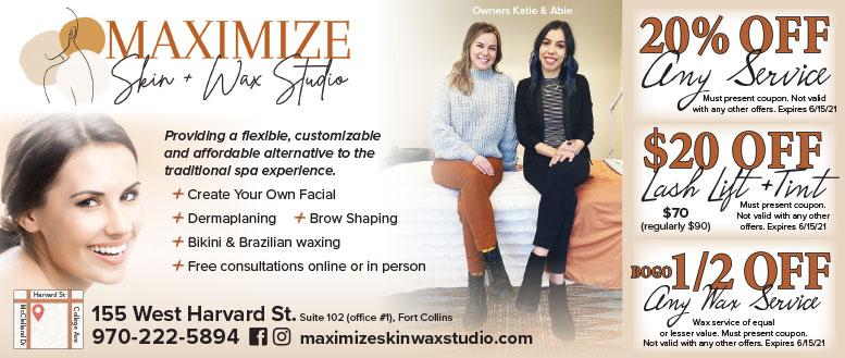 Maximize Skin & Wax Studio Coupon Deals in Fort Collins, NoCo