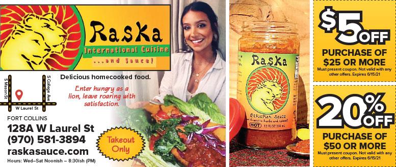 Raska International Cuisine & Sauce Coupon Deals in Fort Collins, NoCo