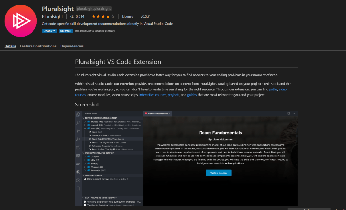 Pluralsight's VS Code Extension
