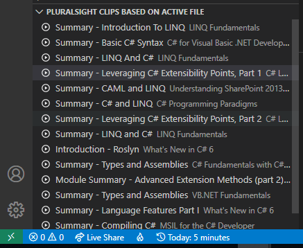 List of Pluralsight clips based on the open file in VS Code.