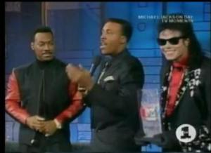 Eddie Murphy along with the late Michael Jackson on the 'Arsenio Hall Show'