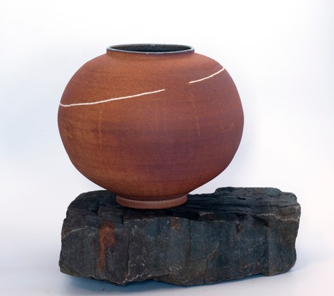 Land Jar 2011 Stoneware with porcelain path inlayed. ht 48cm