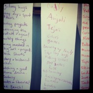 Lists of happy things - made with my kids -to keep me smiling.