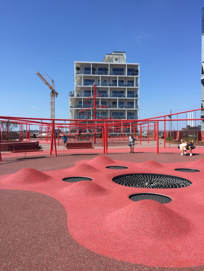 playground/gym on top of a parking lot