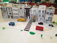 Milk carton street scene