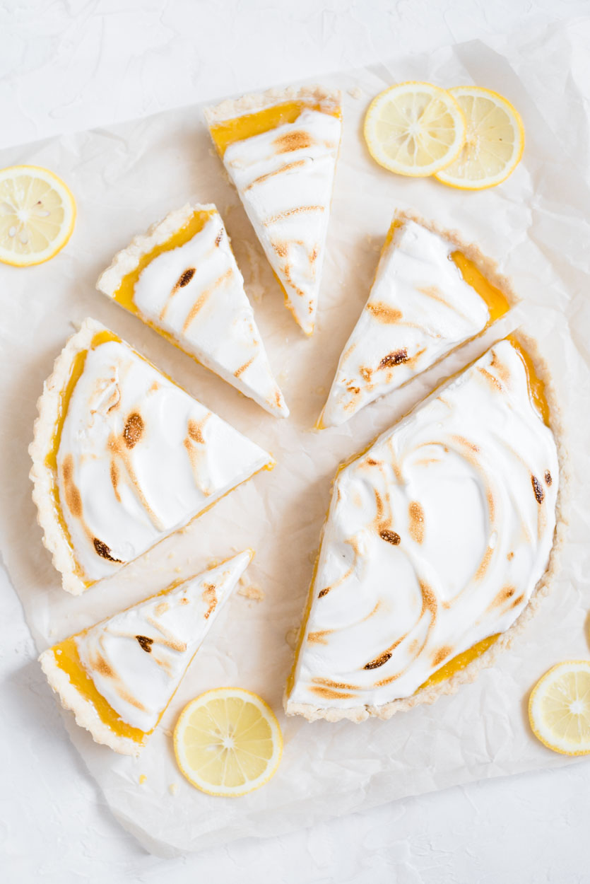 top down view of lemon meringue pie