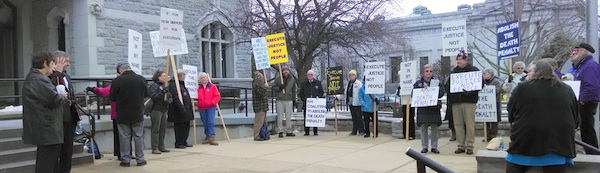 Jan 16 Repeal Activists Holding Signs in front of LOB, Concord