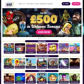 Wink Slots homepage