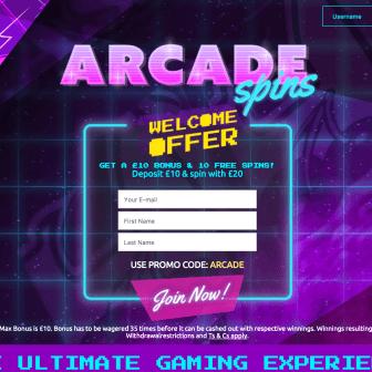 Arcade Spins homepage
