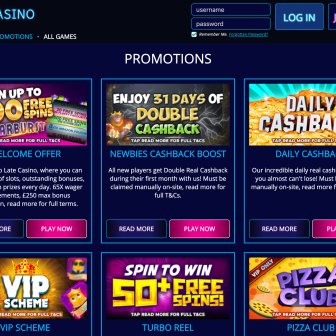 Late Casino - Promotions