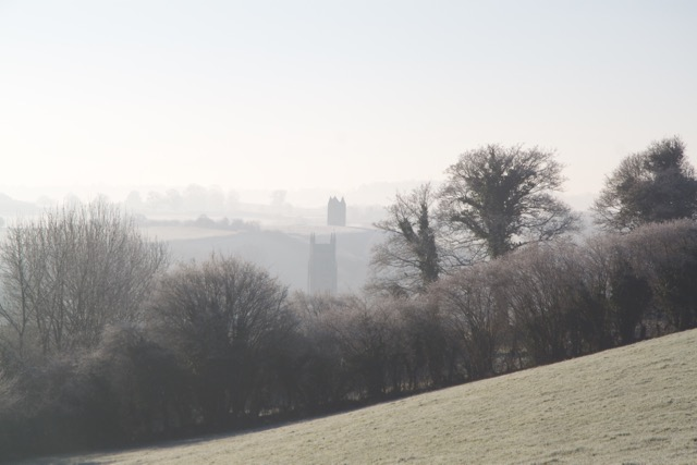 Bruton view from the fields over the road