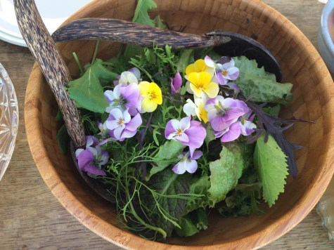 homegrown salad with edible flowers