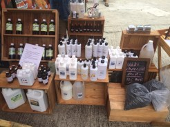 stall selling biochar and organic gardening potions