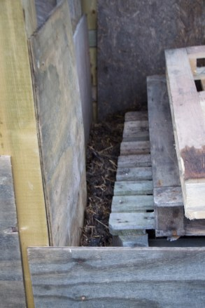 maturing compost and also a handy place to store more pallets