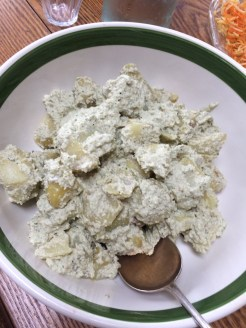potato salad - the dressing is made with cashew nuts and herbs