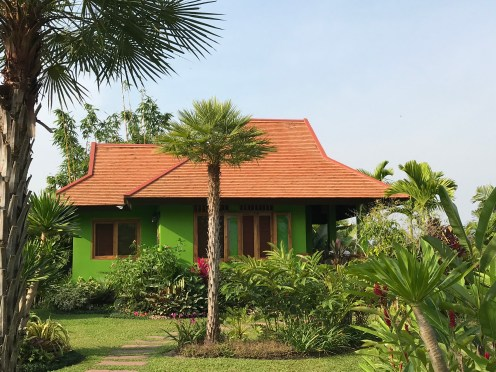 """One of the villas """"Garden Cottage"""" - I love the green walls, perfect for this climate"""