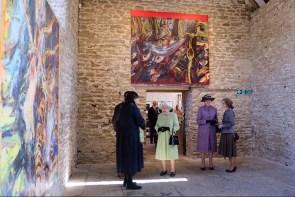 Queen at Hauser and Wirth Somerset with the owners, Iran and Manuela