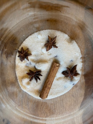 sugar, star anise, cloves and cinnamon stick