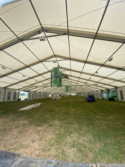 inside one of the huge marquees