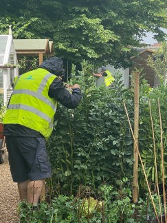 Terry preparing the broad beans