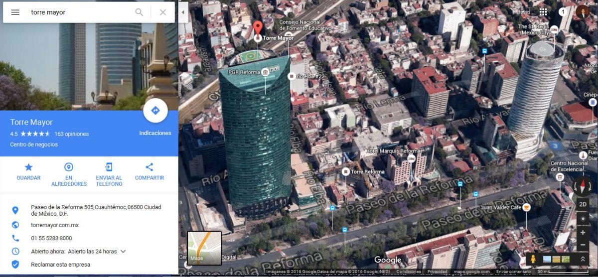 Visualiza México en 3D utilizando Google Maps
