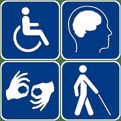 Símbolos de acesibilidad, en diferentes tipos de discapacidad.