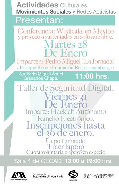 Conferencia Wikileaks en México y Taller de seguridad digital