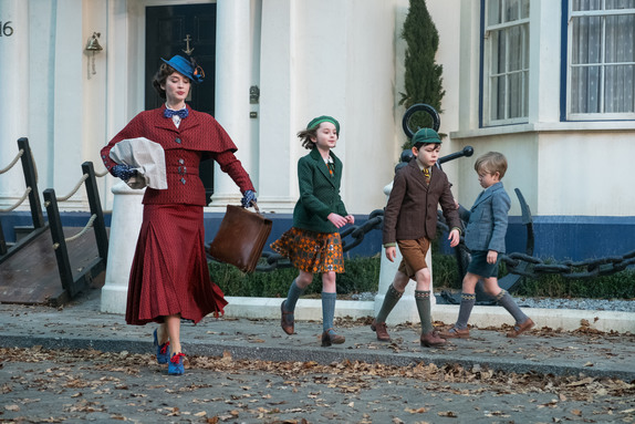 Emily Blunt is Mary Poppins, Pixie Davies is Annabel Banks, Nathanael Saleh is John Banks and Joel Dawson is Georgie Banks in Disney's MARY POPPINS RETURNS.
