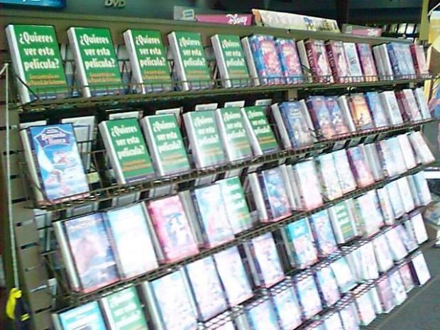 Exhibición de VHS en Blockbuster