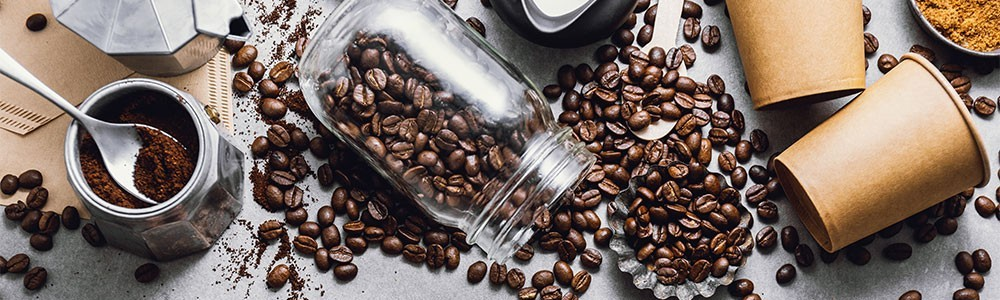 Coffee beans in a coffee jar