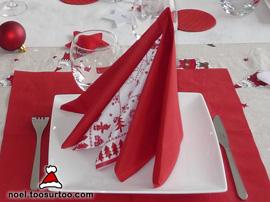 pliage de serviette double pyramide