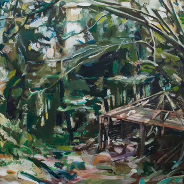 Oil Painting by Noel Hefele of a makeshift shelter in the woods along the dart river