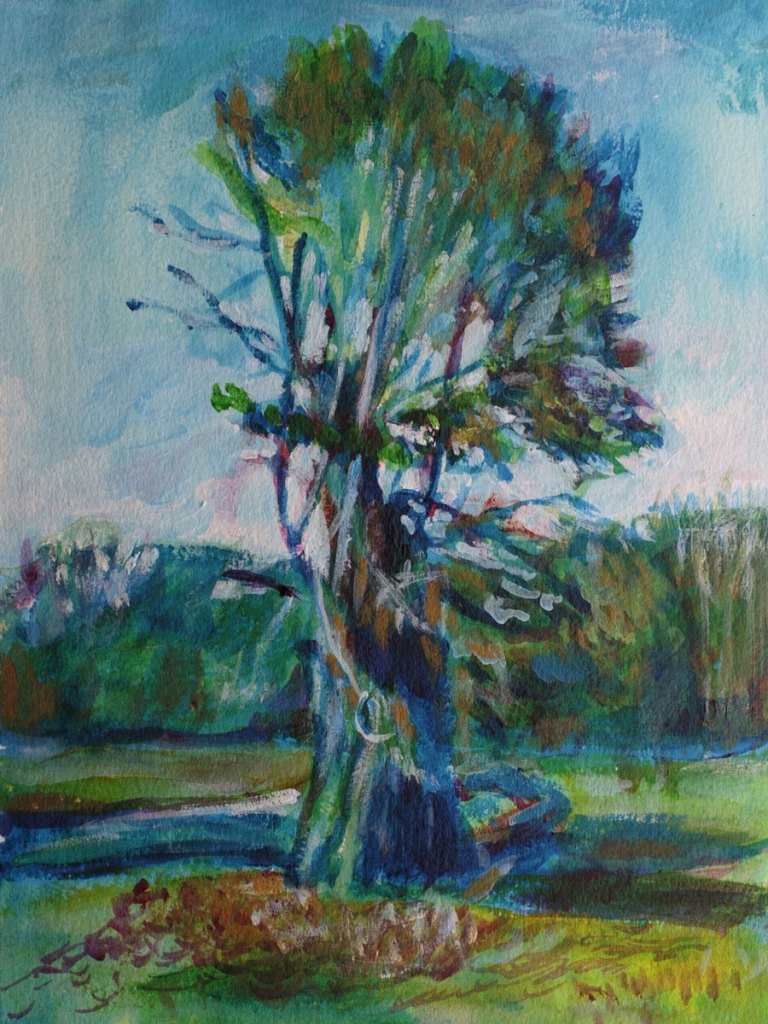 Acrylic Painting of a tree in Prospect Park, by Noel Hefele