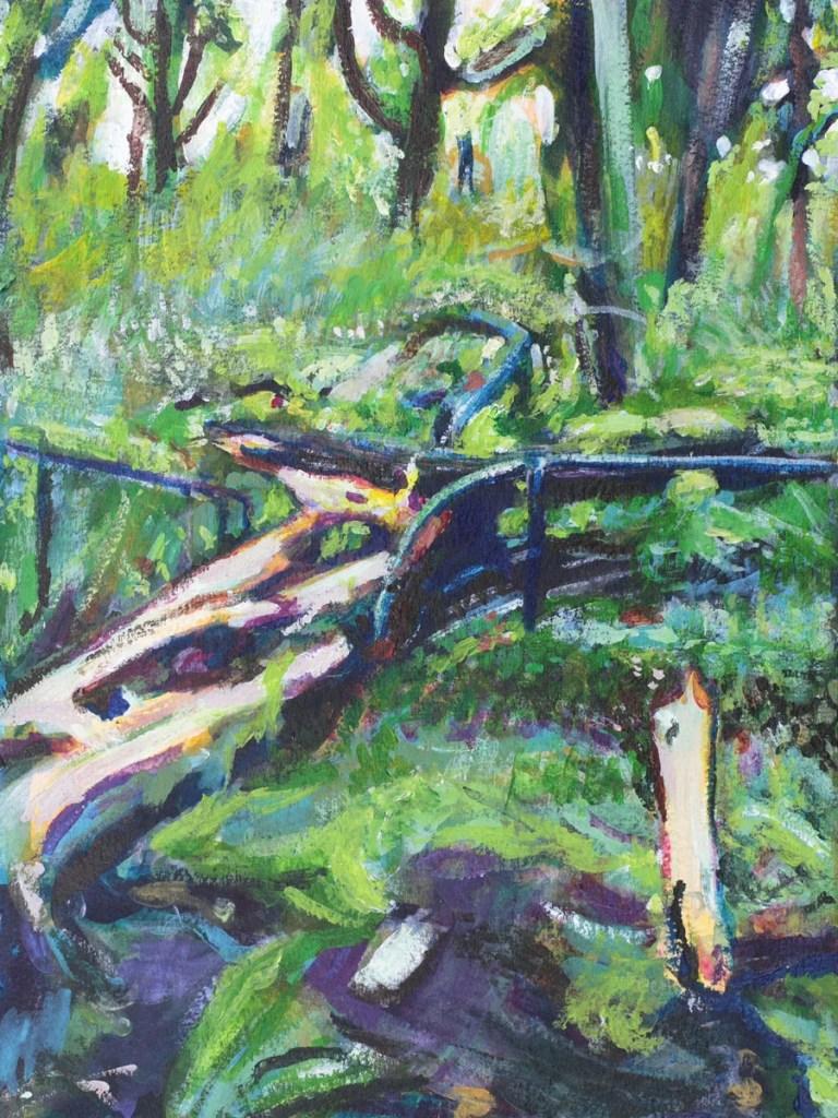 Acrylic Painting of fallen tree in Prospect Park, By Noel Hefele
