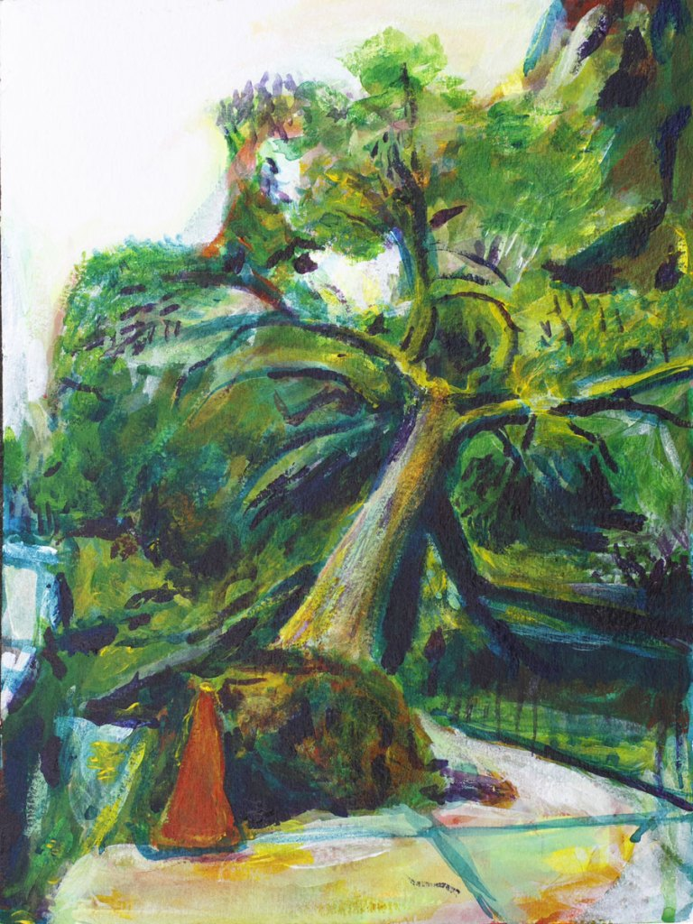 Tree fallen on the sidewalk in Brooklyn, painting by Noel Hefele