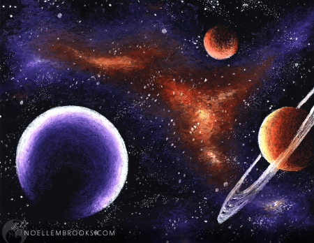 purples, oranges, violets, space, universes, galaxy, galaxies, outer space, outerspace, nebulous, nebulas, planets, moons, sci-fi, science-fiction, science fiction, sciencefiction, spacescape, pastels, oil pastels, crayons, watercolors, watercolours, realism, realistic, nature, noelle, noelle brooks, noellebrooks, noelle m brooks, noellembrooks, art, series, drawings, pictures, illustrations