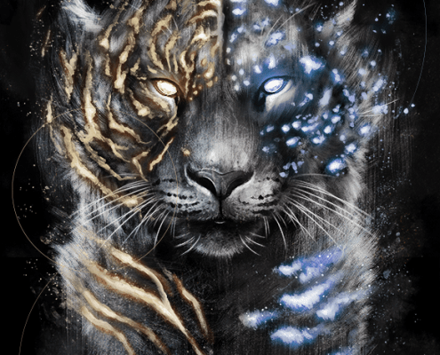 tiger, tigers, snow leopard, leopard, leopards, big cat, big cats, glow, glowing, digital media, graphic, graphic design, animal, animals, wildlife, nature, realism, realistic, noellembrooks, noelle m brooks, noelle brooks, portrait, portraits, portraiture, face, faces, close up, closeup