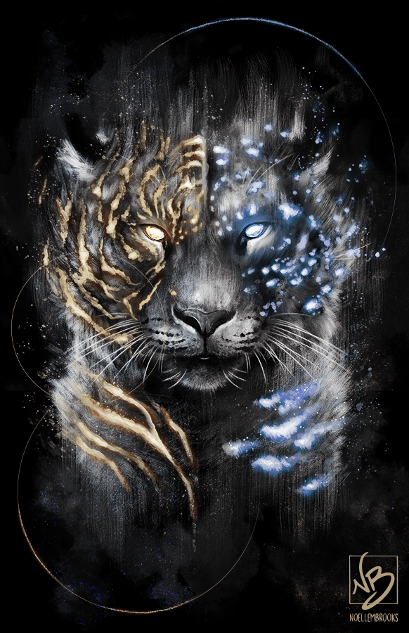 tiger, tigers, snow leopard, leopard, leopards, big cat, big cats, glow, glowing, digital media, graphic, graphic design, animal, animals, wildlife, nature, realism, realistic, noellembrooks, noelle m brooks, noelle brooks, portrait, portraits, portraiture, face, faces, close up, closeup
