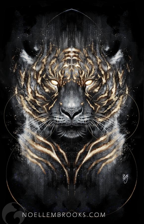 tiger, tigers, big cat, big cats, glow, glowing, digital media, graphic, graphic design, animal, animals, wildlife, nature, realism, realistic, noellembrooks, noelle m brooks, noelle brooks, portrait, portraits, portraiture, face, faces, close up, closeup