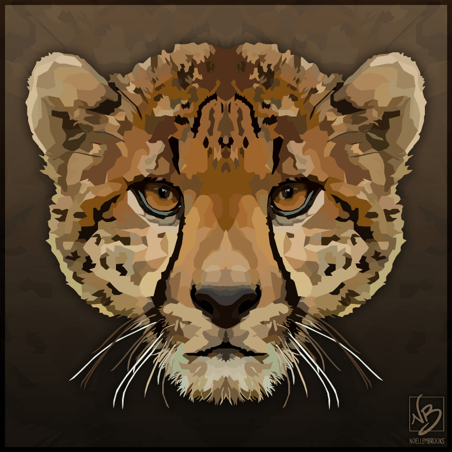 cheetah, cheetahs, big cat, big cats, feline, digital media, graphic, graphic design, vector, adobe illustrator, illustrator, animal, animals, wildlife, nature, realism, realistic, geometric, minimal, minimalistic, simple, simplistic, noellembrooks, noelle m brooks, noelle brooks, series, portrait, portraits, portraiture, face, faces, close up, close ups, closeup, closeups, pictures