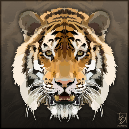 tiger, tigers, digital, digital media, graphic, graphic design, vector, adobe illustrator, illustrator, animal, animals, wildlife, nature, realism, realistic, geometric, minimal, minimalistic, simple, simplistic, noellembrooks, noelle m brooks, noelle brooks, art, illustration, illustrations, portrait, portraits, portraiture, face, faces, close-up, closeup