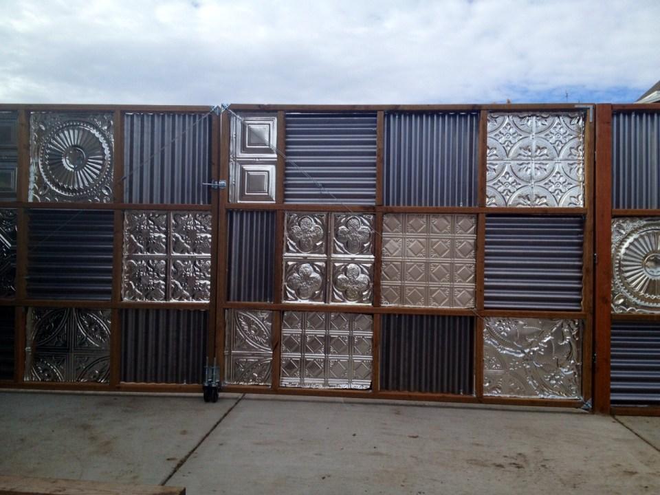 corrugated metal fence gate