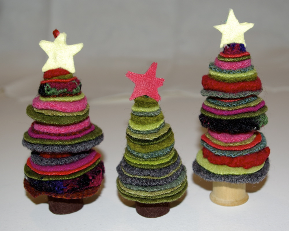 Wool felt ornaments - How To Make Upcycled Wool Felt Christmas Ornaments