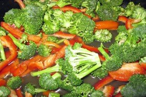Broccoli and Red Pepper Close Up