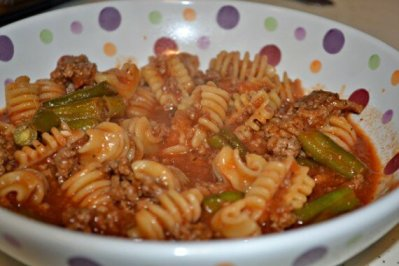 Hamburger and Vegetables with Noodles