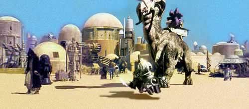 """La città di Mos Esley ritoccata al computer nella edizione speciale di """"Guerre Stellari"""" uscita nel 1997"""