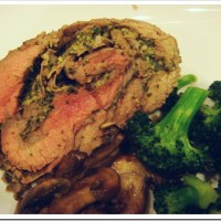 Pesto Stuffed Flank Steak with Garlic Roasted Broccoli
