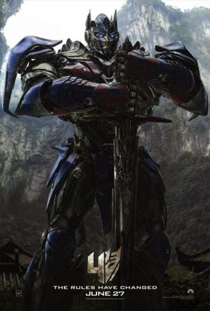 Póster de 'Transformers: La era de la extinción' centrado en Optimus Prime